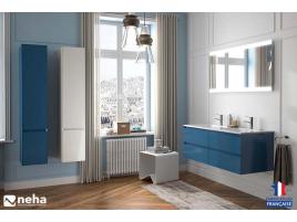 Meuble de salle de bain sans poignée 4 tiroirs 120cm bleu