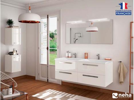 Meuble de salle de bain suspendu 4 tiroirs laqué blanc