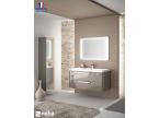 Meuble de salle de bain suspendu gris taupe