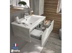Meuble de salle de bain 1 grand tiroir gris