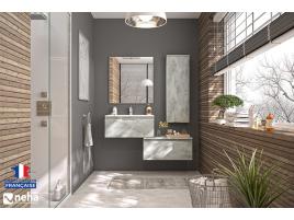 Meuble de salle de bain destructuré gris