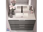 Meuble de salle de bain 3 tiroirs gris sur pieds