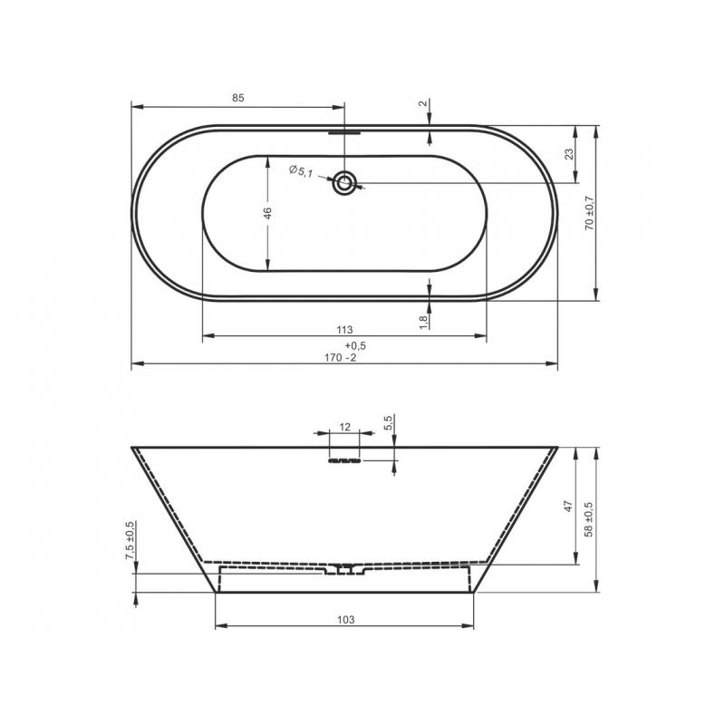 Baignoire Pose Libre Ilot Ovale Noire Ou Blanche Solid Surface 170x70