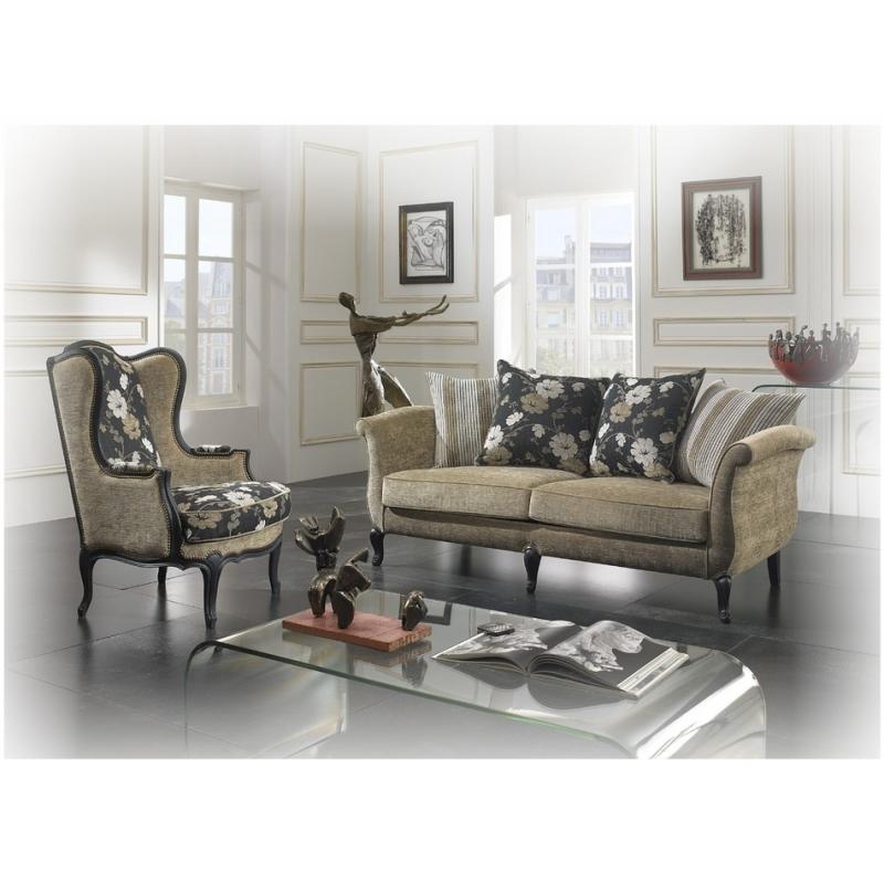 canap copie d 39 ancien en bois style banquette tissu rayure. Black Bedroom Furniture Sets. Home Design Ideas