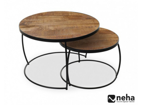 Table basse indus gigogne ronde