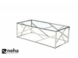 Table basse verre et métal chromé