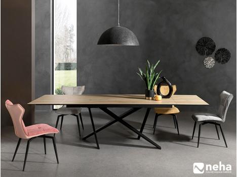 Table céramique imitation bois piètement noir design