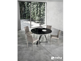 Chaise dossier bas salle à manger cuir design