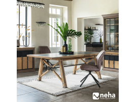 Table de repas extensible céramique / bois