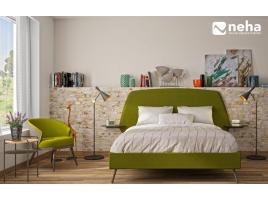 Tête de lit et sa structure avec tablette