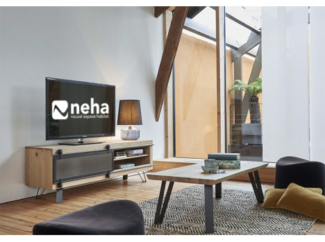 Meuble TV industrel porte métal