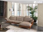 Grand canapé cuir et tissu coussins réversibles