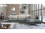 Canapé d'angle bi-color bleu et beige