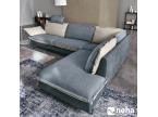 Canapé personnalisable bleu et beige cuir et tissu