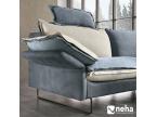 Canapé contemporain bi-matière avec piètement métal