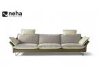 Canapé moderne bi matière et bi color vert beige