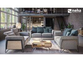 Canapé avec structure métal et bois