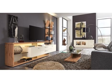 séjour moderne et contemporain blanc et bois