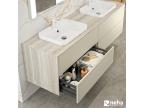 Meuble double vasque plan céramique